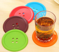 Wholesale Cute Colorful Silicone Button Cup Cushion Holder Drink Tableware Coaster Mat Pads DHL FEDEX