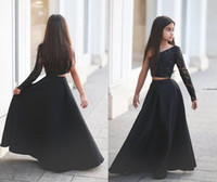 Wholesale Two Pieces Pageant Dresses For Girls Teens One Shoulder Lace Long Sleeve Modest Black Said Mhamad Child Dress For Party Communion Cheap