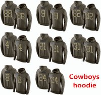 america cheap - 2016 New Cheap Men s Dallas and Cowboys Dez Bryant Witten Ezekiel Elliott Olive Green America Football Pullover hoodies Sweatshirts