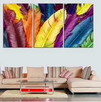 abstract painting videos - 3 PcsLarge HD Abstrac Colorful Feathers Videos Canvas Print Painting For Living Room Wall Art Picture Gift Printing On Canvas