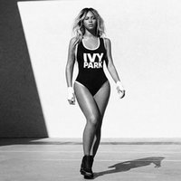 Wholesale High quality cheap Beyonce swimsuit IVY PARK letter print one piece swimwear women jumpsuit sexy black romper sport suit