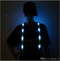 Wholesale 2015 UNISEX LED luminous suspenders men LED Glow flash Suspender Outdoor Sport Safety Protector night riding Light Straps TOPB3107