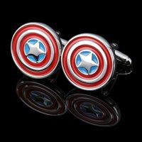 Wholesale 2016 Newest Captain America Cuff Links for shirts Cufflink For Mens French cufflinks wedding Cufflinks Best Xmas gift Cuff Links