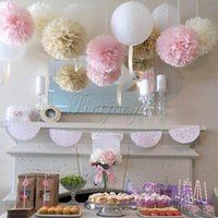 ball wall lights - 10PCS CM Hanging Ball Flower Decorative Tissue Paper Pom Poms Flower Balls Pompom Artificial Paper Flowers DIY Wedding Party Home Decor