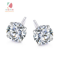 Wholesale lingdong fashion brand sterling silver four claw zircon earring inlaid boutique gift