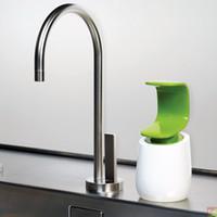 Wholesale 2016 Hot Single Joseph hand soap dispenser C Pump Single Handed Soap Dispenser white and blue Soap level indicator