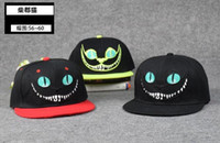 alice hats - New cartoon ALICE IN WONDERLAND caps adult big kids Baseball cap Flat along Hip hop Cheshire Cat personality hats C827