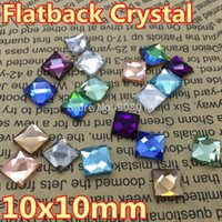Wholesale 200pcs mm Asmmetric Faceted Square crystal glass flatback stones aquamarine amethyst sapphire rainbow for jewelry making