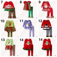 Wholesale 14 Designs Christmas Pajamas Long Sleeve Pyjamas Kids Striped Pajamas Kids Nightwear Set Xmas Pajamas Baby Sleepwear LJJC4963 set