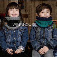Wholesale Children Winter Warm Scarves Wraps Neck Sets Wrap Collars Baby Wool Plus Knitted Pashmina Scarf with Badge Cachecol WJ3002