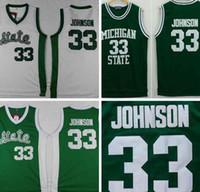 Wholesale Men s Michigan State Spartans Magic Johnson Jerseys University College Shirt Green Color White Cheap Best Quality