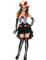 adult flower costumes - Adult Skeleton Day of The Dead Costume Women s Sexy Sugar Skull Dia Flower Fairy Halloween ghost vampire bride Fancy Dress