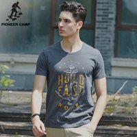 bamboo t shirt printing - Pioneer Camp bamboo cotton printed t shirt mens anchor cotton t shirt comfortable breathable o neck t shirts fit