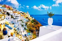 Wholesale Santorini The wooden puzzle pieces ersion paper jigsaw puzzle white card adult children s educational toys