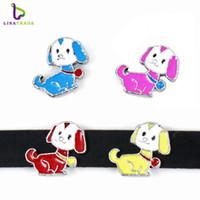 Wholesale 10PCS MM quot Dog quot Slide Charm DIY accessory Fit mm Wristband Belt Pet Collar Zinc Alloy LSSC147
