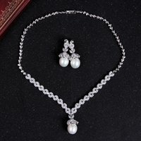 african american artists - Pearl zircon necklace wedding photo with make up artist must have EH25