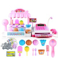 Wholesale Learning Resources Ice Cream Shop Toy Stand Pretend Play Set with Lights and Sound Calculator Cash Register Desserts Pretend Play For Kid