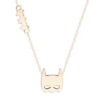 bats heart necklace - 10pcs New Style Batman Mask Pendant Necklace Bat Silhouette Charm Necklace for Women Hero in Your Heart