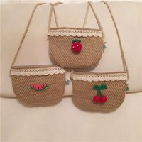 crochet bag - Babies Crochet Linen Hangbags Baby Girl Lace Cherry Fashion Bag Kids girls Cross body Bag Babies Hangbag