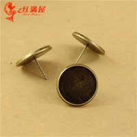 Wholesale Fit MM MM MM MM MM Retro round stud Earrings blank base tray bezel jewelry accessories handmade DIY material