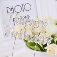 Wholesale Happy Brithday Crystal Rhinestone Anniversary Birthday Party Cake Decoration