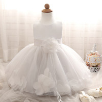 baby darling - Cute Wedding Pageant Darling Petals Flower Girl Princess Dress Party Baptism Ball Gown with Flower Fringe Bow Tie Sash for Toddler and Baby