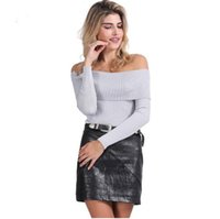 Cheap DHL free shipping-off shoulder elastic winter sweater women Short gray lapel pullover sexy white jumpers Autumn bodycon basic knitwear top
