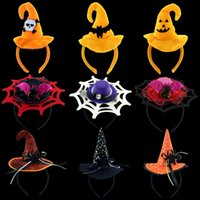 Wholesale Halloween Adult Costumes Cosplay Dress Kids Fashion Head Band Hair Hoop Head Wear Hat Pumpkin Spider Web Wizard Party Head Band
