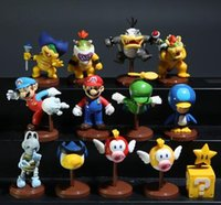 Wholesale Newest Set of Super Mario Bros Wii Collection Toy Figures penguin mushroom star Bowser Princess epacket