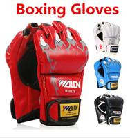 Wholesale New Hot Home Men Fighting Boxing Sanda Sandbag PU Leather Half Finger Gloves One Size