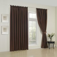 Wholesale Classic Solid Brown Double Pleated Top Blackout Curtains Drapes With Multi Size Custom
