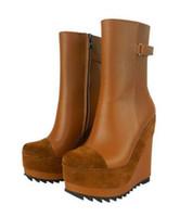 Plataforma de moda cuña de tacón alto Motorcyle botas negro / Brown como Jeffrey Campbell Botas de cuero genuino dedo del pie redondo mujer Knight