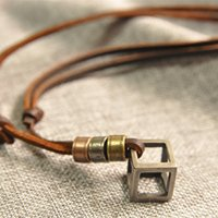 artistic wholesaler - Vintage retro design Handmade leather belt hollow cube necklace pendant Creative artistic accessory Gifts Fashion accessories