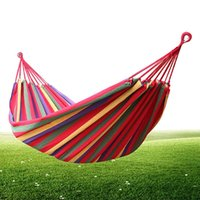 Wholesale 2016 Indoor Parachute Cloth Sleeping Hammock Portable Outdoor Camping Hammock Baby Hammock Sandy Beach Rainbow Bed