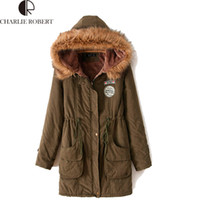 Wholesale New Thickening Long Overcoat Military Hooded Outerwears Winter Jacket Women Fur Coats Woman Clothes Outwear Coat Parkas