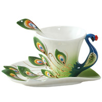 Wholesale Colourful Peacock Coffee Cup Ceramic Porcelain Enamel Cups and Mugs Wedding Birthday Gift Creative Cup ml