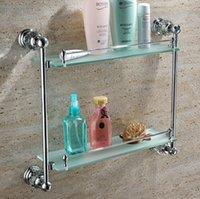 Wholesale Free shiping Crystal Brass chrome Bathroom shelf double shelf Pure copper glass bathroom hardware GY018