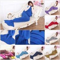 acrylic hand bags - Adult Mermaid Tail Blankets Mermaid Hand Crocheted Blankets Super Soft Sleeping Bag Sofa Knit Cocoon Mermaid Costume Mermaid Bedding B999