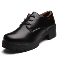 add height shoes - SUNROLAN NEW Women s New Casual Leather Upper Lace Up Add Cotton Oxford Chunky Heel Shoes