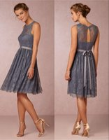Wholesale BHLDH Lace Knee Length Bridesmaid Dresses A line Sash Grey Bridesmaid Gowns Vintage Evening Party Dresses