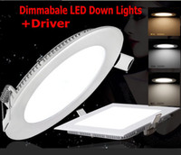Wholesale 30pcs Dimmable Ultrathin LED Panel Lights LED Down Lights W W W W W W LED Ceiling Lights Driver DHL