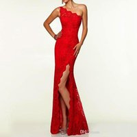 art deco lady - Runway Fashion One Shoulder Side Front Split Evening Dresses Long Red Floor Length Lace Prom Party Gown Formal Lady Mermaid Dresses Hot