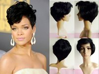 Wholesale New Fashion short hair wig hair High quality Wavy synthetic hair Wigs for Women Black Female Rihanna Wavy Celebrity cosplay