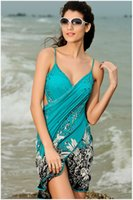 Wholesale Ice silk material female sling wrap skirt beach style soft and comfortable halter printing holiday dress