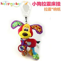 Cheap 2016 New Brand Bed stroller Hanging 37cm Dog Plush vibration Toy Rattle Teether newborn baby Gift Multifunction Educational