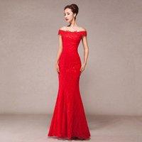 Wholesale Bride Toast Clothing Cheongsam Dress Long Red Lace Sexy Mermaid Cheongsam Party Dress summer Hot sale