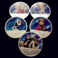 Wholesale 5 The full set of Frozen Anna Elisa Olaf Christopher real silver plated cartoon movie character Elizabeth souvenir coin