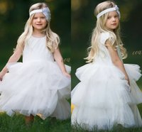 Wholesale Ivory Lace Flower Girl Dresses Ball Gown Tulle Baby Girl Birthday Party Christmas Communion Dresses Children Girl Party Dresses