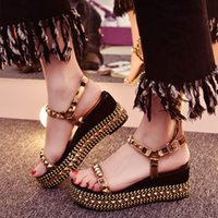 Wholesale New Fashion Gold Studded Summer High Heel Wedges Red Leather Sole Luxury Brand Women Sandals Shoes