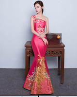 Wholesale long Cheongsam Chinese style dress tail cultivate one s morality embroidery evening dress